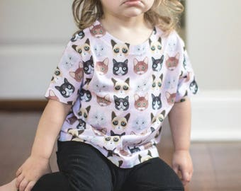 Cat Print - Toddler Tee - Kids Tee -  all over shirt - Skull & Crossbones tee - toddler shirt - toddler gift