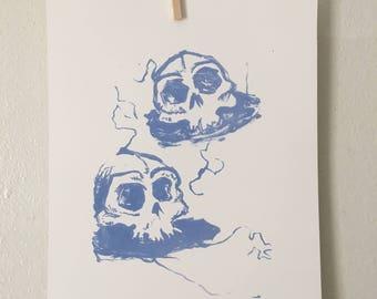 Cool Blue Skull Minimalist Lithograph