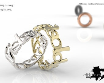 Name ring 925 sterling silver or gold plated brass