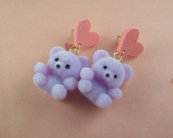 Flocked Teddy Bear Heart Earrings