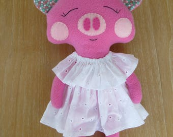 Sophie the piggy,soft toy,unique toy,gift for kids,plush toy,handmade doll,baby shower gift,stuffed pig,birthday gift,cuddle toy,fabric toy