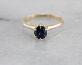 Antique Sapphire Solitaire Engagement Ring TE01AX-D