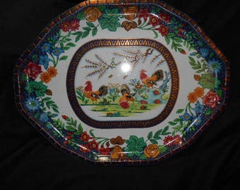 Daher Dedorated Tin Tray Roosters Design