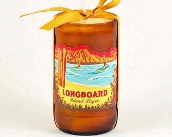 Kona Brewery Longboard Island Lager Beer Candle  Big Island Hawaii Candle Tiki Bar Decor Diamond Head  Oahu Candle Handmade in Hawaii Surf