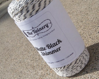 FULL SPOOL - Bakers Twine - The Twinery - New Matte Black and White Shimmer Metallics Bakers Twine - 240 Yards