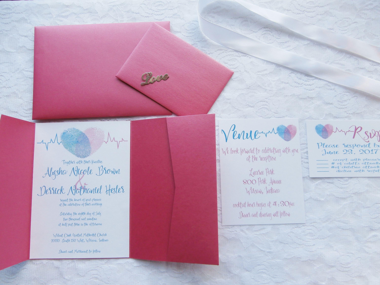Personalized Fingerprint Pocket Card Wedding Invitation