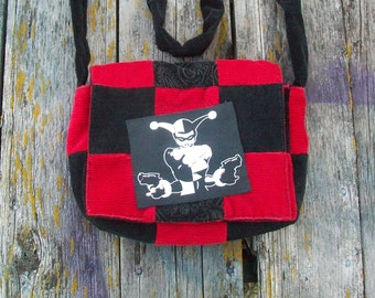 Red Black Patchwork Recycled Corduroy Crossbody Purse Harley Ready to Ship