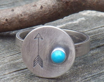 Turquoise arrow ring / sleeping beauty turquoise ring / sterling silver ring / boho ring / gift for her / jewelry sale / stamped jewelry