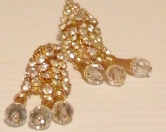 SALE******Crystal and Rhinestone Dangle, Drop Clip Earrings********Was 65.00*****Now