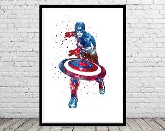 Captain America inspired, Watercolor Print, Splasher Captain America Poster, Kids Room Decor, Captain America Print, Superhero Art(1691b)