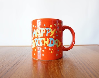 Waechtersbach Germany Happy Birthday Red Coffee Mug Cup Red with Confetti Design Ceramic