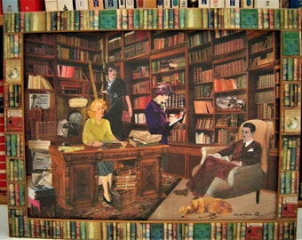 Mix Media: library Vintage painting