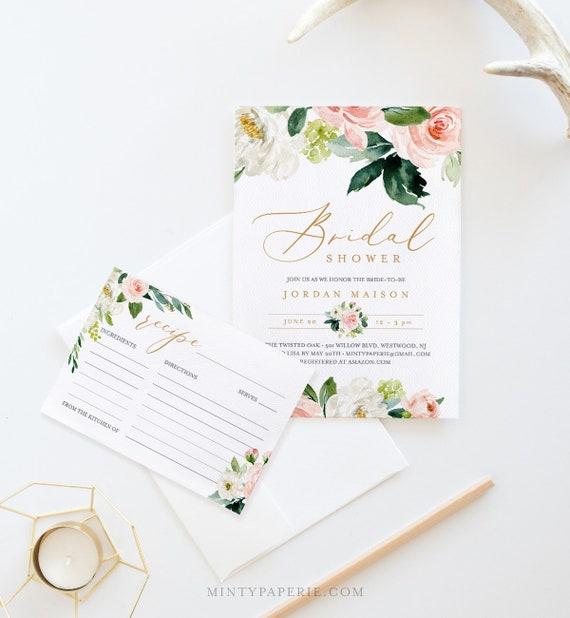 Bridal Shower Invitation + Recipe Card Set, Instant Download, Editable Template, Printable Invite & Recipe Insert, Floral Greenery #043-BSRC