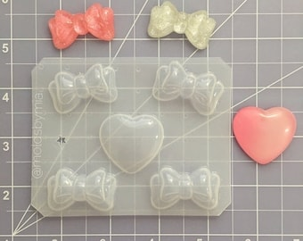 ON SALE Small elegant bows flexible plastic resin mold set ~ 5 cavity