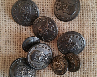 Military buttons, vintage Waterbury buttons lot, silver colored buttons, military collection, assemblage altered art, sewing projects