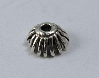 5mm Turkish Sterling Grooved Beadcap (2 Pcs) #TKS001