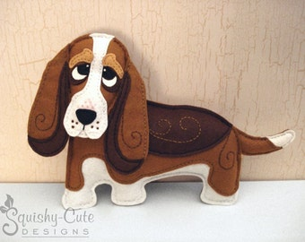 Dog Sewing Pattern PDF - Basset Hound Stuffed Animal Felt Plushie - Benny The Basset Hound - Instant Download