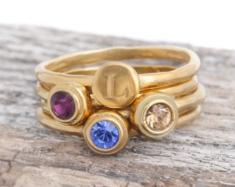 Gold Mother's Ring with Initial and Birthstones. Ring Set of 4 Stacking Rings in 24K Gold Vermeil. Gold Stackable Rings, Gift for Mom.