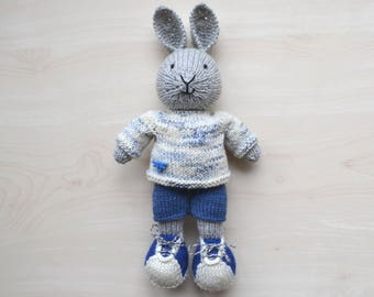 Hand Knit Bunny Boy Soft Toy Doll for Boys Knitted Little Easter Bunny in Cotton Suit Cute Stuffed Animal Mother's Day Gift Rabbit