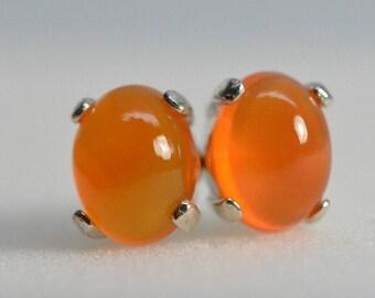 Carnelian earrings | sterling silver, studs,8x6,Orange earrings,Natural,Chalcedony earrings,Carnelian,Quartz,chalcedony