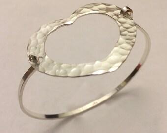Open Heart Hammered Silver Bracelet-Tension Bracelet - Artisan made by SurfingSilver