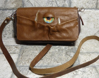 Wallet Purse Cross Body With Face Small Monster Harry Potter Labyrinth Brown Leather Detachable Strap Convertible 399