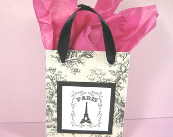 10 Paris Eiffel Tower Favor Bags - Ooh La La Party Favor Bags - Black and Cream Toile Favor Bags - Small Shopping Bags - Paris Gift Bags