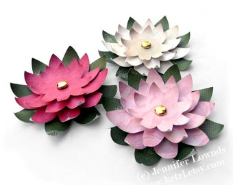 Printable Templates & Instructions Tutorial How to make paper flowers - water lilies for wedding stationery, cardmaking - pdf ebook,