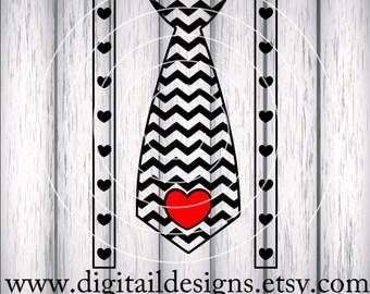 Valentine Tie SVG - png - fcm - eps - dxf - ai Cut File - Silhouette - Cricut- Scan n Cut - Tie SVG - Suspender SVG - Boys Valentine Design