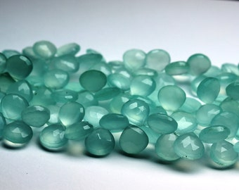 Aqua Blue Chalcedony Briolette Gemstone Faceted Heart 11mm ,40 beads