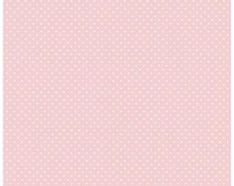 Riley Blake Designs, White Swiss Dot on Baby Pink  (C670)