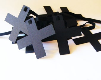 SWISS CROSS paper garland. Black Swiss Cross. Ready to hang.