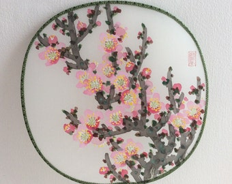 Original Chinese Painting on Silk Fan-Blossom(Plum Blossom)