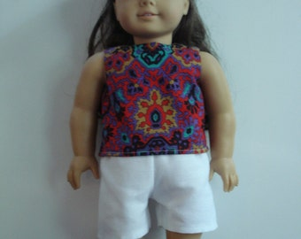 """18"""" Doll Clothes - Multi-Color Top and White Shorts DYD020"""