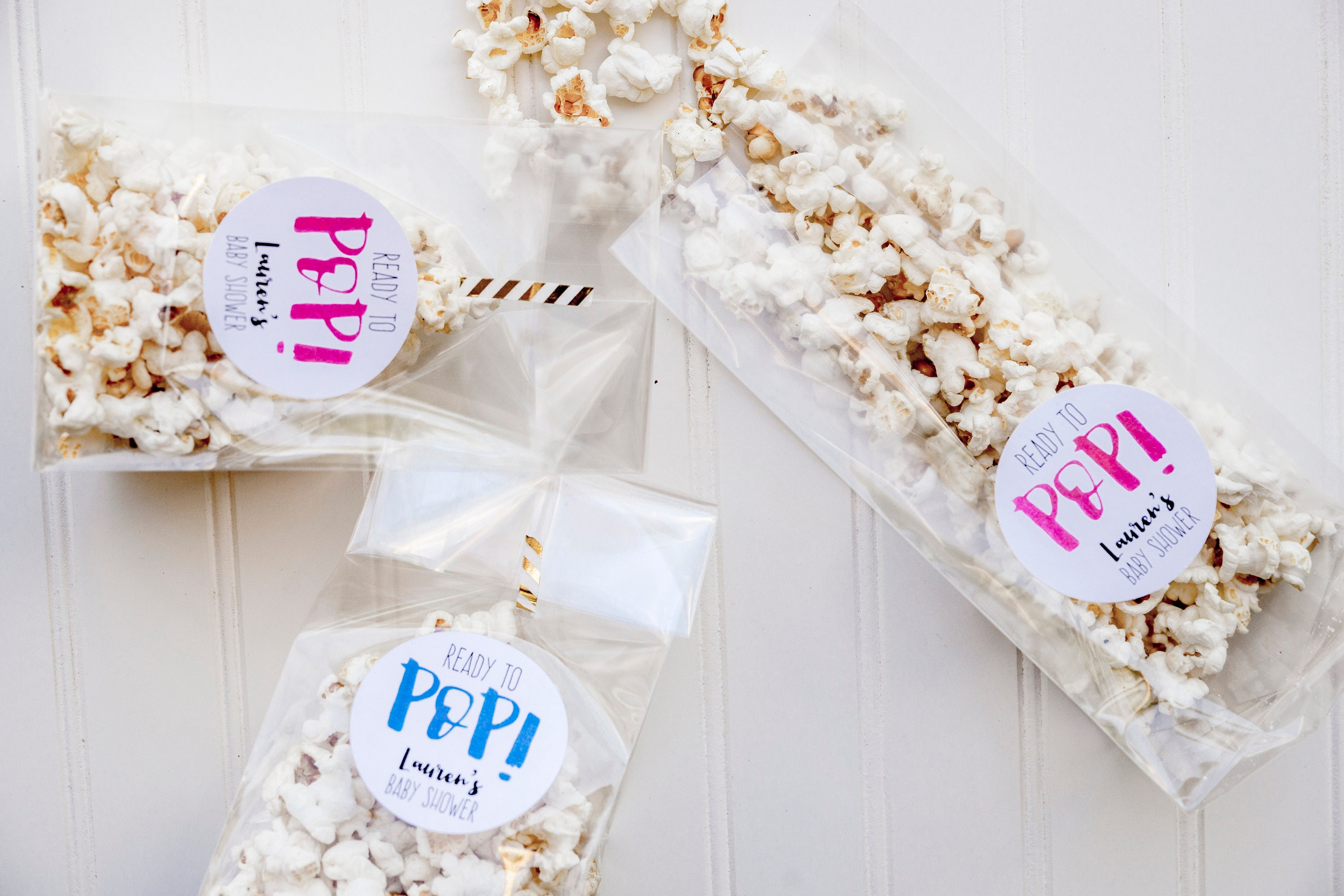 Baby Shower Favor Bag Kits Ready to Pop Favor Bags Popcorn
