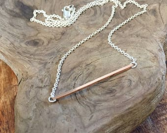Two Tone Choker Length Necklace with Sterling Silver Chain and 14K Rose Gold Filled Square Bar Pendant