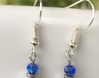 Classy fresh-water pearl and blue crystal dangle earrings