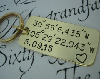 Longitude And Latitude Keychain, Coordinates Keychain, Anniversary Gifts For Men, Girlfriend Gift, Long Distance Relationship, Gift For Men