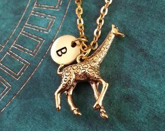 Giraffe Necklace SMALL Giraffe Charm Giraffe Pendant Necklace Giraffe Jewelry Bridesmaid Necklace Personalized Jewelry Initial Necklace Gift