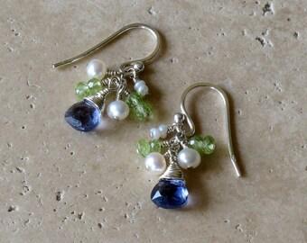 Iolite, Peridot and Fresh Water Pearl Cluster Sterling Silver Earrings