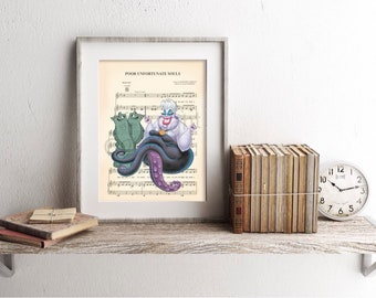 Little Mermaid Ursula with Jetsam and Flotsam Poor Unfortunate Souls Sheet Music Art Print