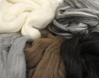 Icelandic Wool Sampler - Undyed Wool Roving for Spinning or Felting (10oz)
