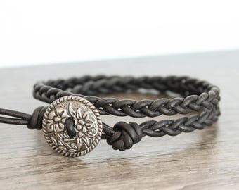Double Wrap Black Braided Leather Bracelet • Black Leather Braided Bracelet • Black Leather Bracelet • Wrap Bracelet Black • B2BK001