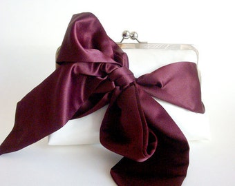 Wine Satin Ribbon Sash Clutch Choose your Colors by Lolis Creations