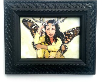 FAIRY Sade Adu - framed original painting Butterfly Wings and Antlers