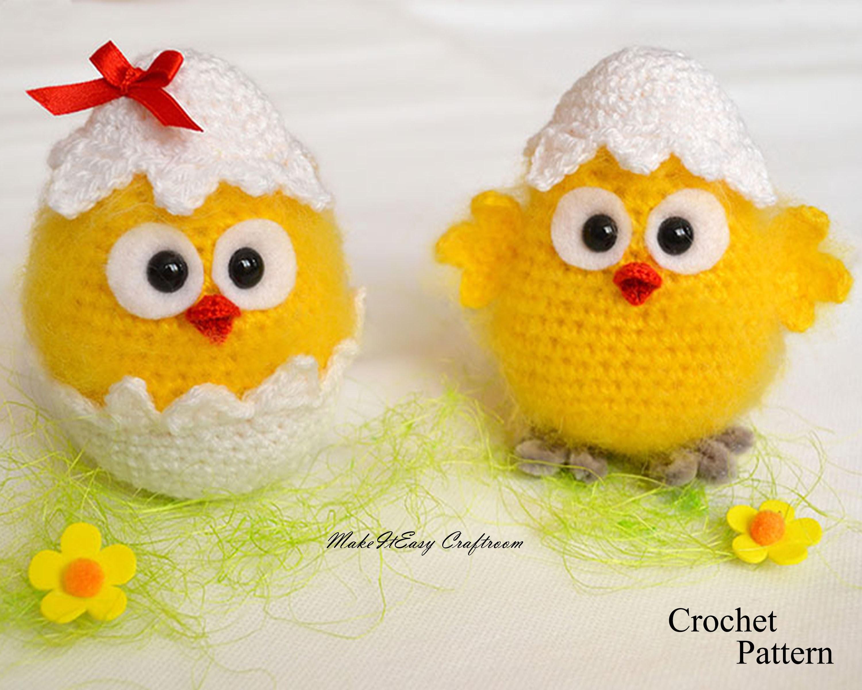 Hatched chicken crochet pattern PDF Crochet yellow chicken amigurumi ...