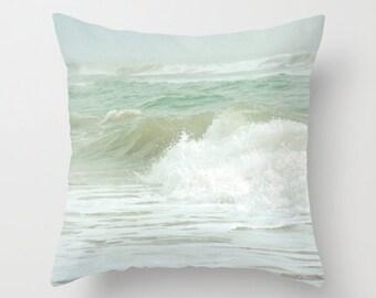 Pillow Cover, Ocean Pillow, Sea Green Pillow, Ocean Wave Photo Pillow, Pale Sea Foam Green Pillow, 16x16 18x18 20x20 Beach Pillow