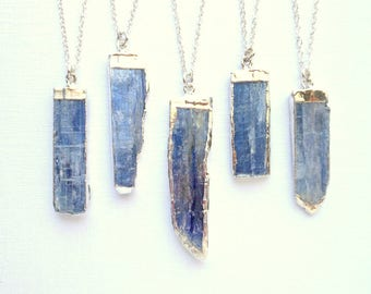 Kyanite necklace blue kyanite pendant sterling silver gemstone necklace silver edged kyanite jewelry raw kyanite necklace crystal necklace