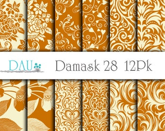 12 Pack Damask 28 Floral Caramel Digital Download 12x12 300DPI Zip Files Wedding Paper Crafts Scrapbook Paper Background Card Design