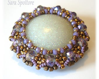Beaded round pendant - Violet purple bronze pendant - Handmade pendant with beads - Sparkly pendant with resin cab